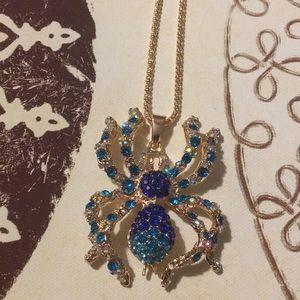 Spider Rhinestone Necklace